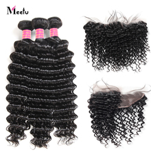 Meetu Indian Hair Bundles With Frontal 13X4 Deep Wave Bundles With Frontal Pre Plucked 3 Bundles With Frontal Closure Non Remy