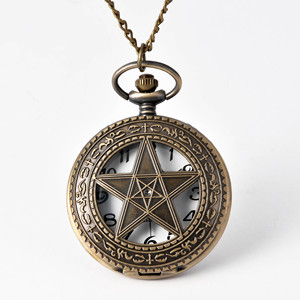Fashion Large Vintage Bronze Craved Hollow Star Retro Best Gift Pocket Watch with waist chain