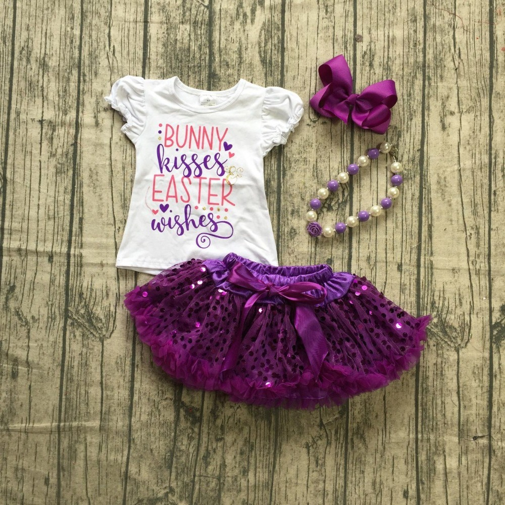 ea9ee9ac9 Aliexpress.com : Buy baby girls Fall dress clothing girls Easter bunny  kisses wishes clothesgirls top with sequin tutu sets outfits with  accessories from ...