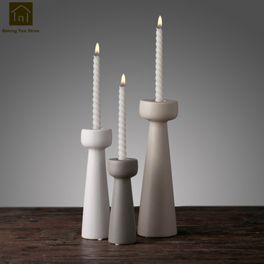 Candle Holders White Handle Ceramic