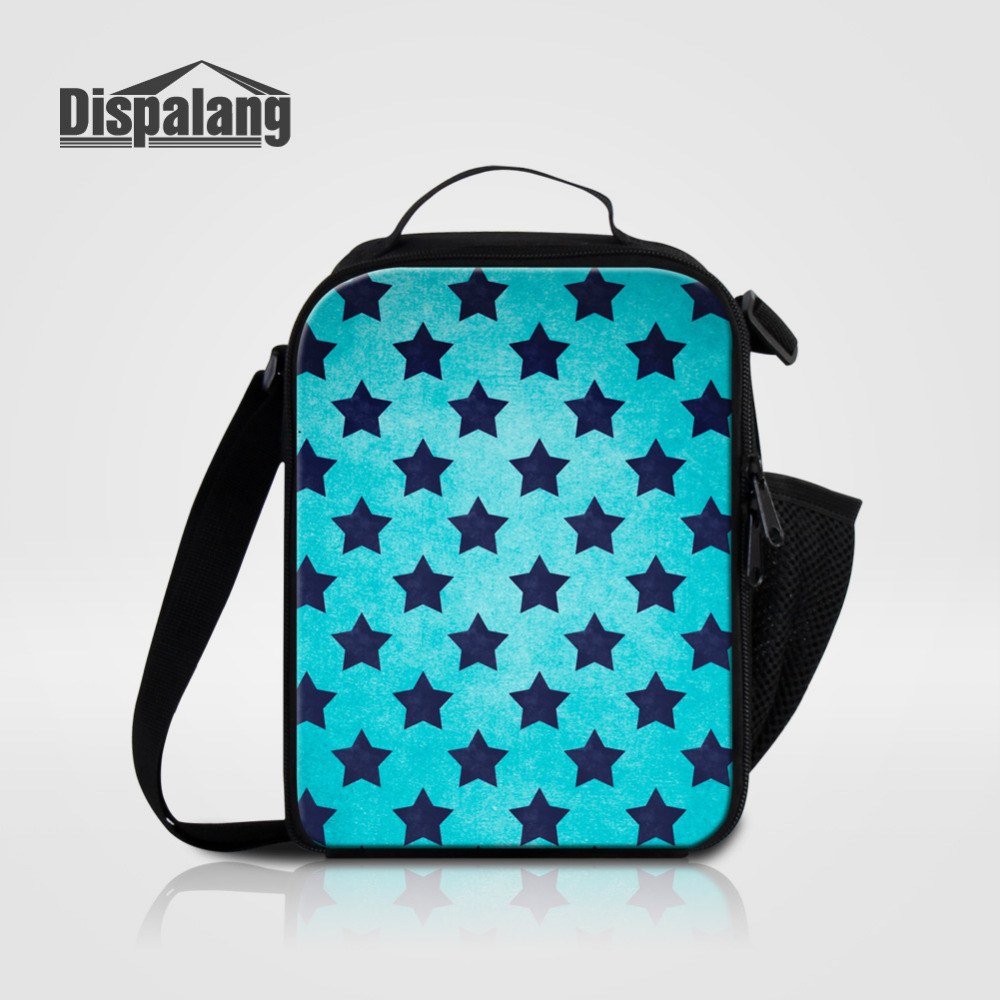 Dispalang Stars Print Lunch Bag For Kids Striped Children Insulated Thermal Cooler Bag Girls Boys Lunch Box Small Picnic Bag