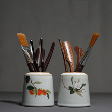 PINNY Your Kiln Porcelain Kung Fu Tea Accessories Bamboo Spoon Ceramic Handpainted Flowers Ceremony Decorations