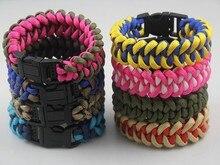 цена на DHL FeDex Free shipping 100pcs/lot New Mix Colors Wholesale Unisex 550 handmade woven paracord survival bracelet for women men