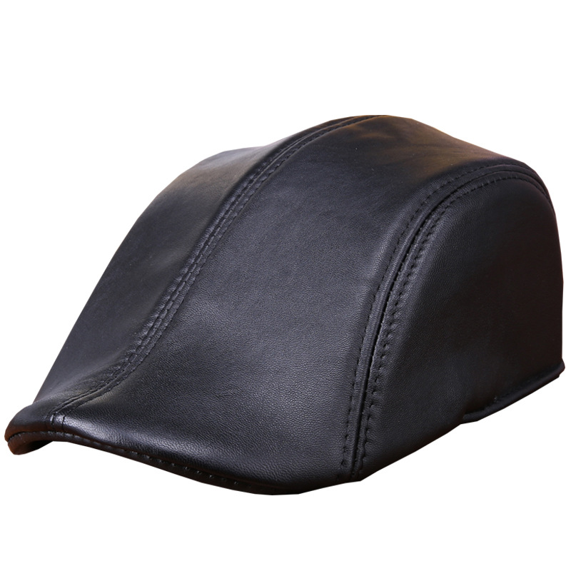 a5d067a9e8ff1 Fashion Sheepskin Hat Genuine Leather Cap Mens Baret Cowhide Flat Cap Cabby  Hat Vintage Newsboy Driving Peaked Cap B 7241-in Baseball Caps from Apparel  ...