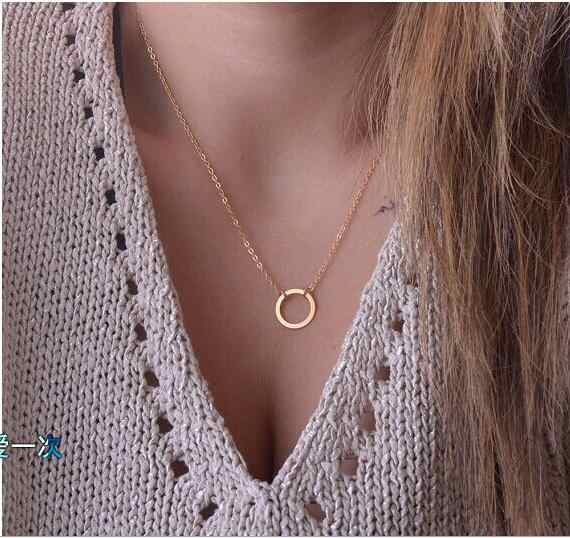 Simple Round Pendant Necklace Women Collar Maxi Clavicle,Gold/ Sliver Plated Chokers Necklaces for Women Neckless Jewelry NE456