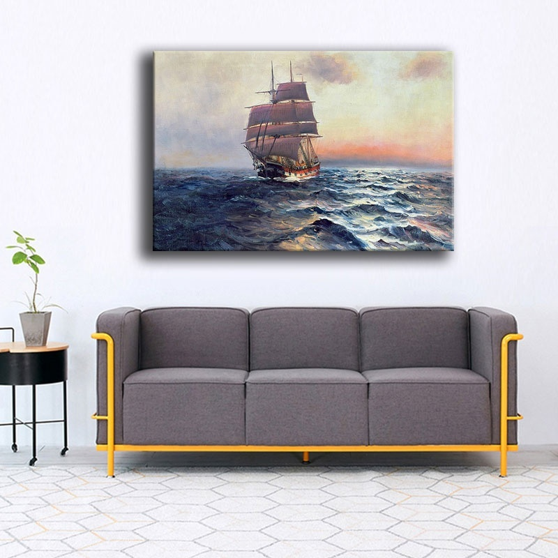 Seascape Wave Painting Sailboat At Sea Picture