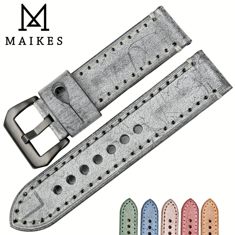 MAIKES New 22mm 24mm watchbands vintage black leather watch strap watch accessories watch bracelet for Panerai watch band maikes 18mm 20mm 22mm watch belt accessories watchbands black genuine leather band watch strap watches bracelet for longines