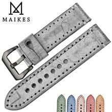 MAIKES Novo 22mm 24mm pulseiras de relógio de couro preto relógio de pulseira do vintage acessórios relógio pulseira para Panerai watch band