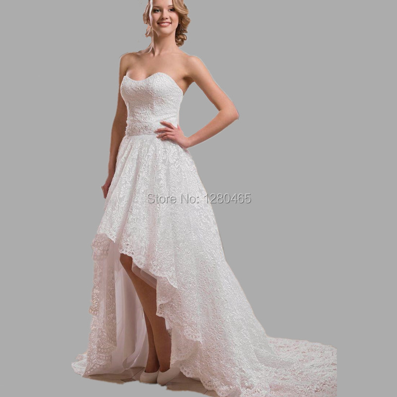 Hi Low Lace Wedding Dress Short Front Long Back Beach
