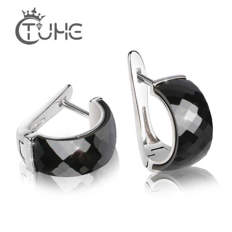 2019 New Fashion Women Stud Earring 316 Stainless Steel Black Ceramic Big Women Earrings Wedding Party Simple Fashion Jewelry