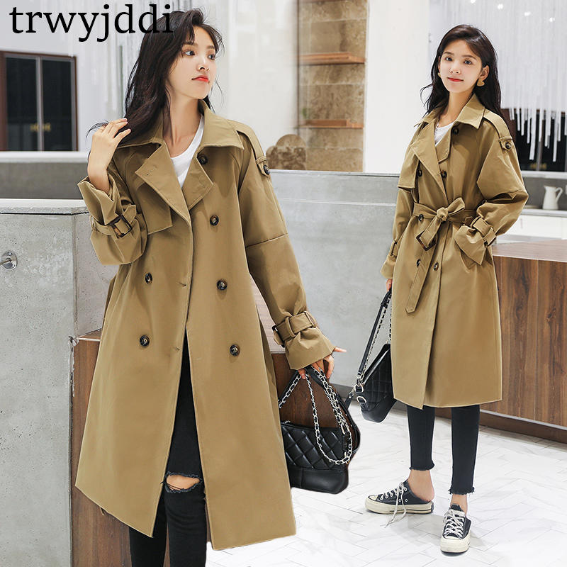 2019 Female Solid Medium Long   Trench   With Belt Women Full Sleeve Double Breasted Coat Blue Khaki Street Casual Korean Fashion