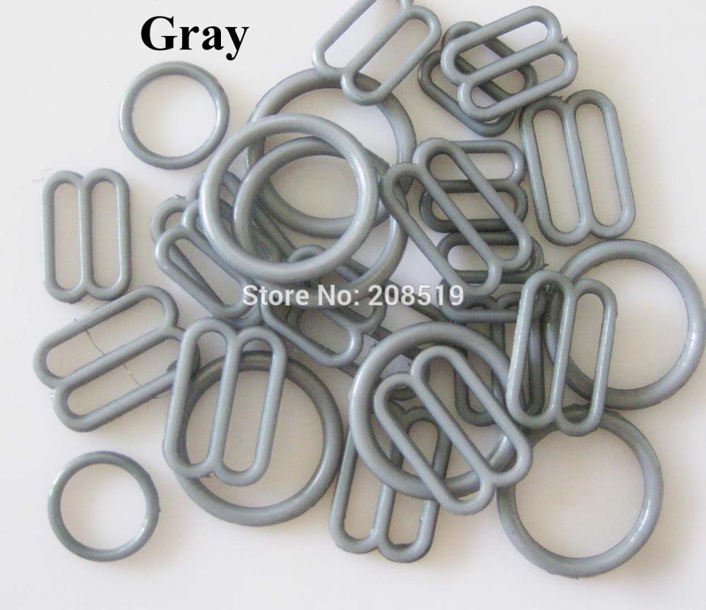 NBNLAE 100 шт. пряжки для бюстгальтера(50 шт. уплотнительное кольцо+ 50 шт. 8 слайдеров) красочные пластиковые пряжки нижнее бельё с пуговицами аксессуары - Цвет: gray as show