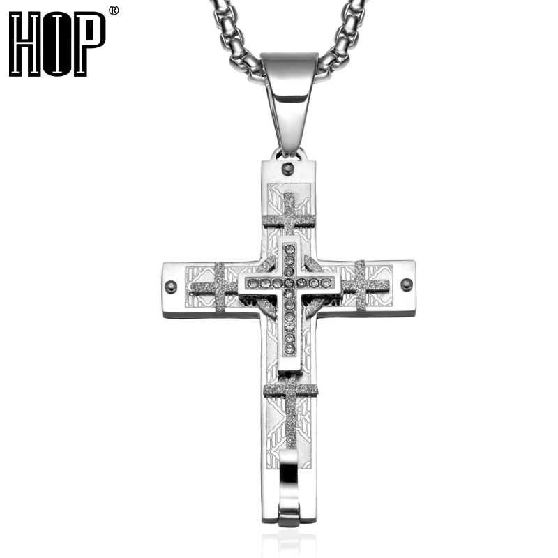 ... HIP Multiple Jerusalem Cross Necklace CZ Stone Pave Two Tone Stainless  Steel Cross Necklaces Pendants for ... 9646e201cc3d