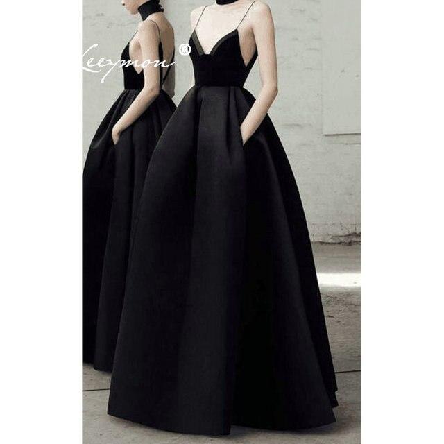 2019 New Black Spaghetti Strap Velvet Evening Dresses Sweetheart Sleeveless Prom Gowns Robe De Soiree Formal Dress Long Dress
