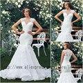 Luxury custom Vestido De Novia Elegant Cap Sleeve Organza Floor Length Long Train White Flower Sexy Lace Mermaid Wedding Dress 2