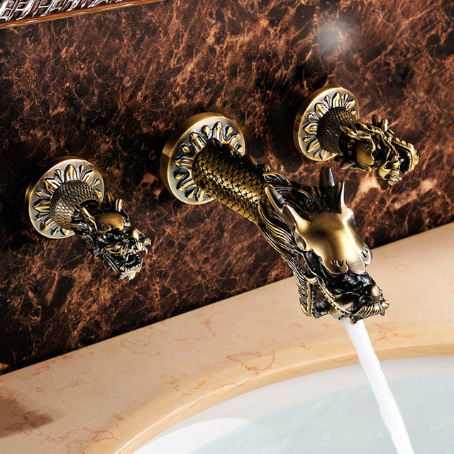 Luxus Badarmaturen antique drache badarmaturen messing kunst führenden wand montiert