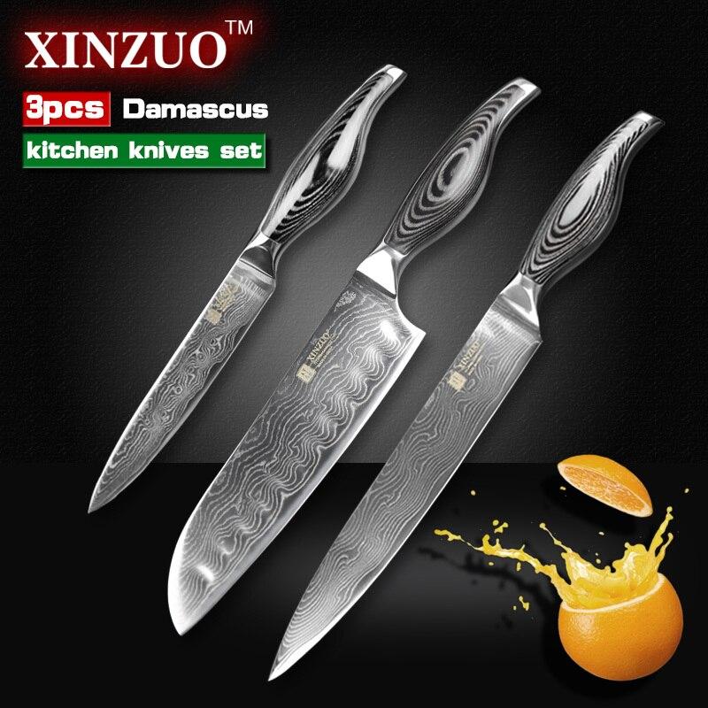 3 pcs kitchen font b knives b font 73 layers Damascus steel kitchen font b knives