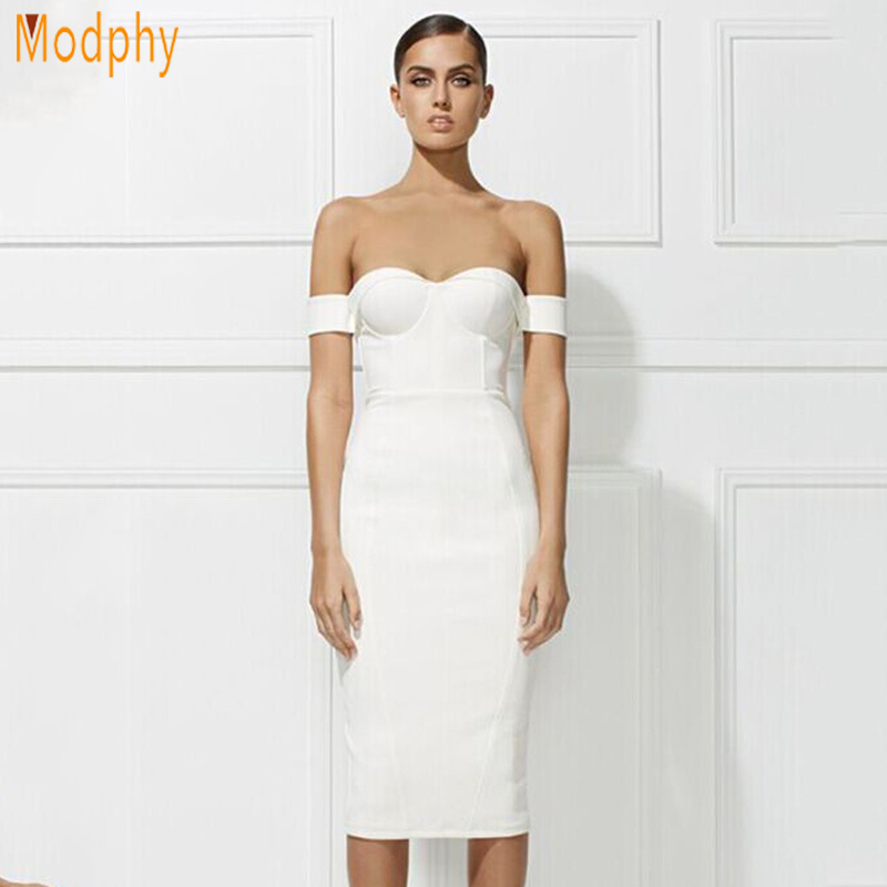 Modphy wanita seksi strapless bahu midi dress bodycon backless perban gaun pesta panjang drop kapal HL489