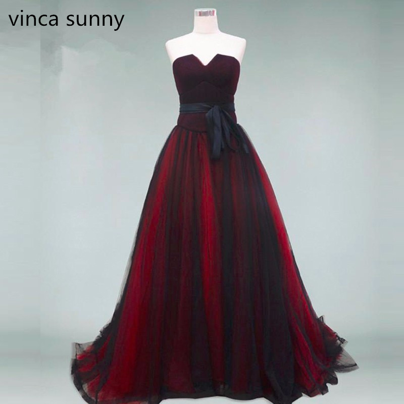 Gothic Burgundy Black Evening Dresses 2019 Real Photo Strapless Lace Up Back Floor Length A Line