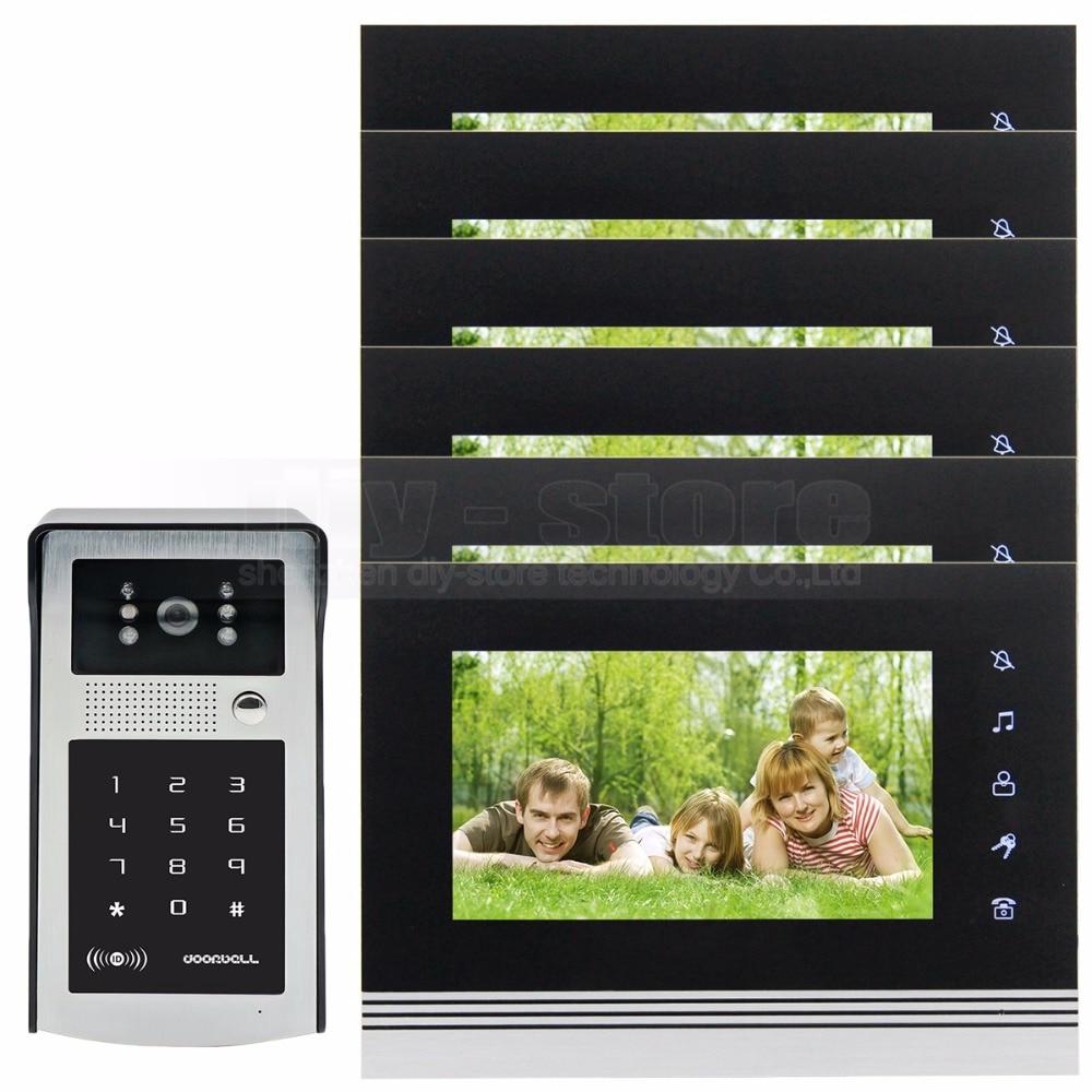 DIYSECUR 7 inch Touch Button Video Door Phone Intercom Doorbell IR Night Vision HD 300000 Pixels RFID Keypad Camera 1V6