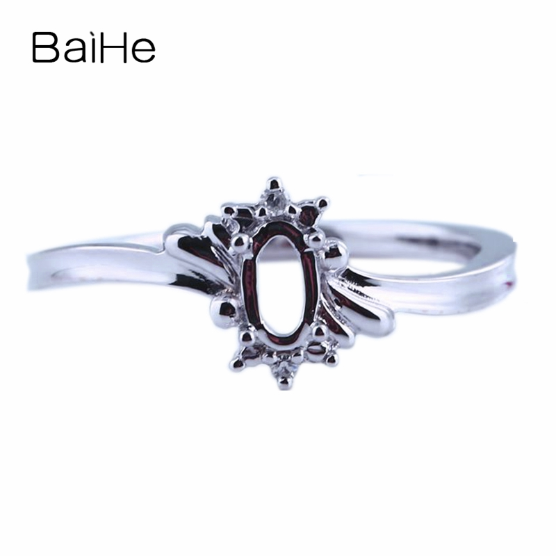 BAIHE Solid 14k White Gold(AU585) 3x5mm Oval SI/H Natural Diamonds Semi Mount Cocktail Engagement Wedding Ring Jewelry SettingBAIHE Solid 14k White Gold(AU585) 3x5mm Oval SI/H Natural Diamonds Semi Mount Cocktail Engagement Wedding Ring Jewelry Setting