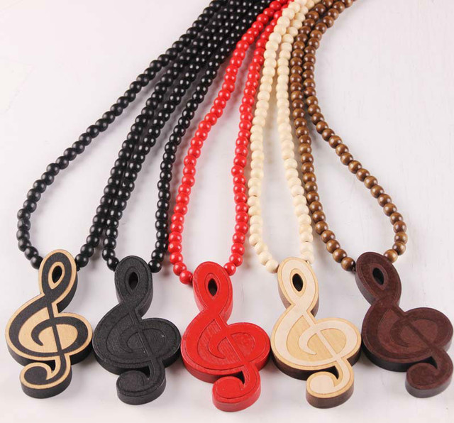 Music laser engraved music note wooden bead necklace solid wood hip music laser engraved music note wooden bead necklace solid wood hip hop pendant art necklace x aloadofball Image collections
