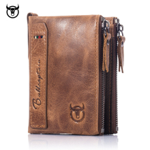 Brand HOT Genuine Crazy Horse Cowhide Leather Men Wallet Short Coin Purse Small Vintage Wallets New High Quality Designer