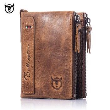 da170cd29 Caliente marca genuino caballo loco de cuero de piel de vaca de los hombres  billetera monedero Vintage carteras nuevo diseño de alta calidad