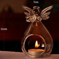 New Arrive Lovely Angel Shape Votive Candle Holders Centerpieces Transparent Glass Candle Holders For Dinner Party