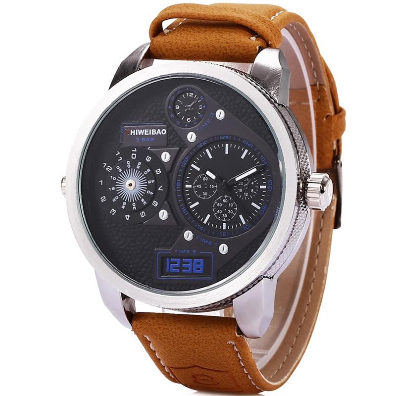 Luxury Brand Shiweibao Quartz Mens Watches Men Watch Dual Time Zones Military Quartz-Watch Wristwatch Sport Relogio Masculino men s military multifunctional dual time zones analog quartz watch w compass