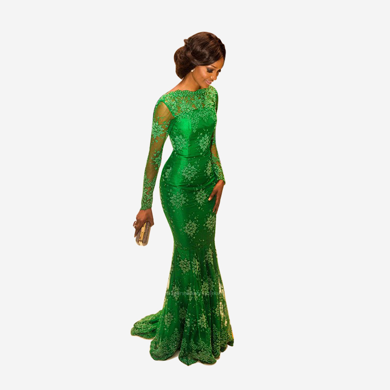 89a7a115d5d2 2017 New Arrival Green Evening Dress Miss Nigeria Mermaid Lace Celebrity  Inspired Long Sleeve Formal Dresses