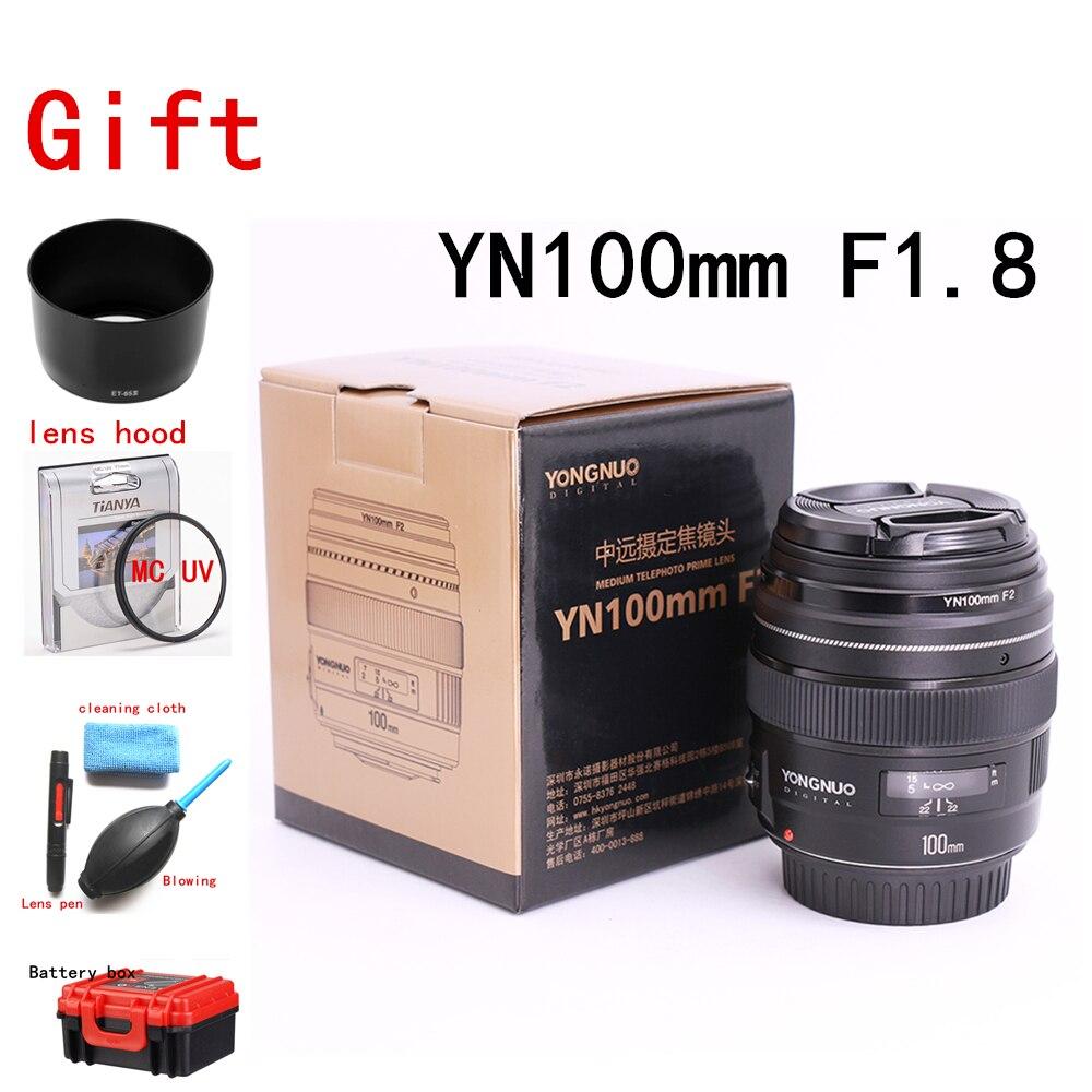 Yongnuo YN100mm F2 moyen téléobjectif objectif premier AF MF grande ouverture 100mm lente pour Canon EOS rebelle caméra 1300D T6 760D 750D