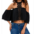 Blusas Femininas 2017 New Sexy Women Blouses Halter O Neck Fashion Lace Patchwork Off Shoulder Back Hollow Out Short Shirts