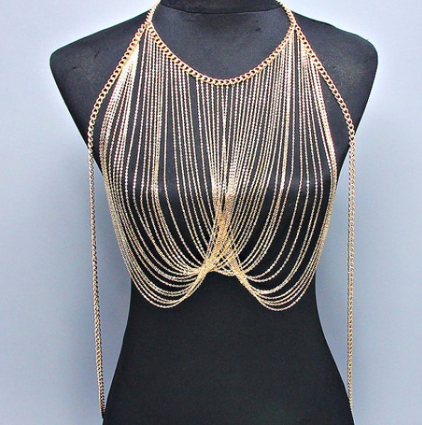 2 Colors Women Lady Punk Tassel Choker Shoulder Necklace Jewellery Body  Chain Slave Harness Jewelry dbf338374994
