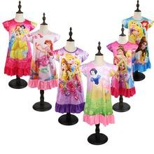 Летнее Ночное платье принцессы; Детская домашняя одежда; Пижама с русалочкой; детская ночная рубашка с рисунком Белоснежки; одежда для сна для девочек; халат