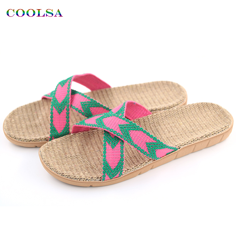 Hot New Summer Women Linen Slippers Brand Quality Flat Ribbon Non-Slip Indoor Flax Slides Home Sandals Lady Ethnic Beach Shoes coolsa women s summer flat cross belt linen slippers breathable indoor slippers women s multi colors non slip beach flip flops