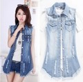 Denim Vest Women 2016 Autumn Sleeveless Vintage Holes Jeans Jacket Slim Long Outerwear Button Fashion Plus Size Tops