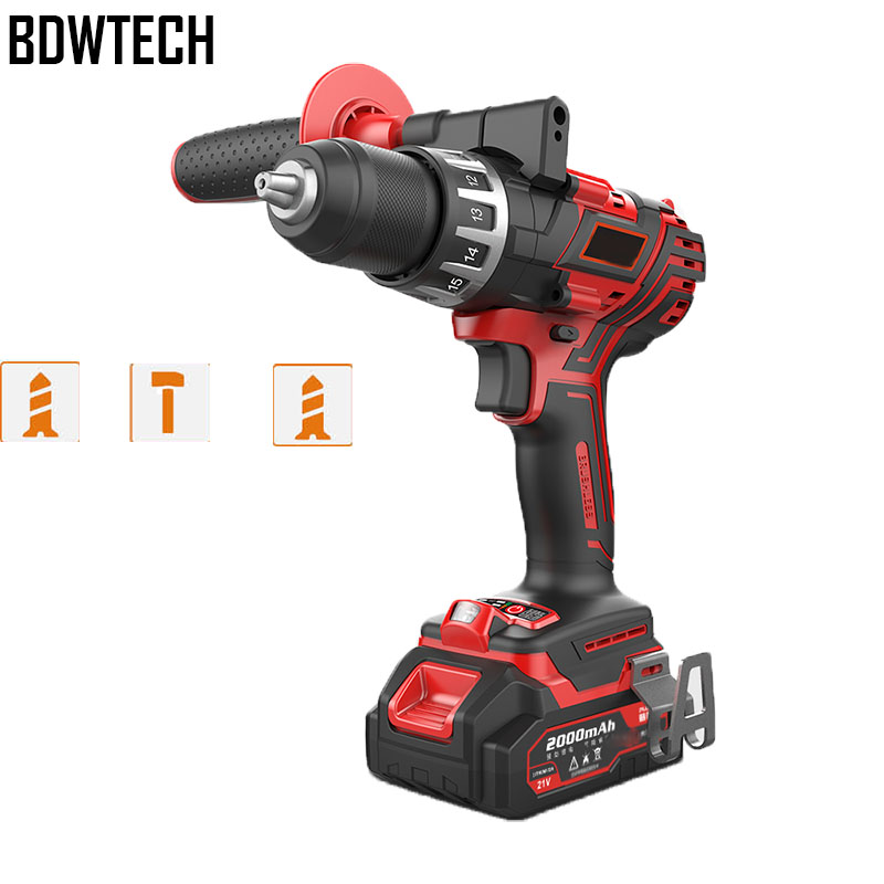 BDWTECH 20V Brushless motor BT189 Cordless Drill Imact drill Ice drill Max torque 120N.m with battery charger and tool case Electric Drills     - title=