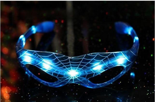 10pcs/lot <font><b>Glow</b></font> <font><b>in</b></font> <font><b>dark</b></font> 8LEDs Glowing <font><b>Spiderman</b></font> Hero Glasses For Wedding Birthday Festival Halloween Party Supply Decors