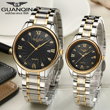 Роскошные часы, пары пара бренд Guanqin часы с датой календарь кварц сапфир любовь горный хрусталь часы Водонепроницаемый Наручные часы