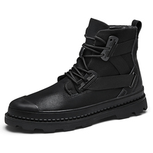 Spring Autumn Genuine Leather Boots Men High Top Outdoors Black Dr Martins Men Boots Ankle Cow Leather Doc Martins Men
