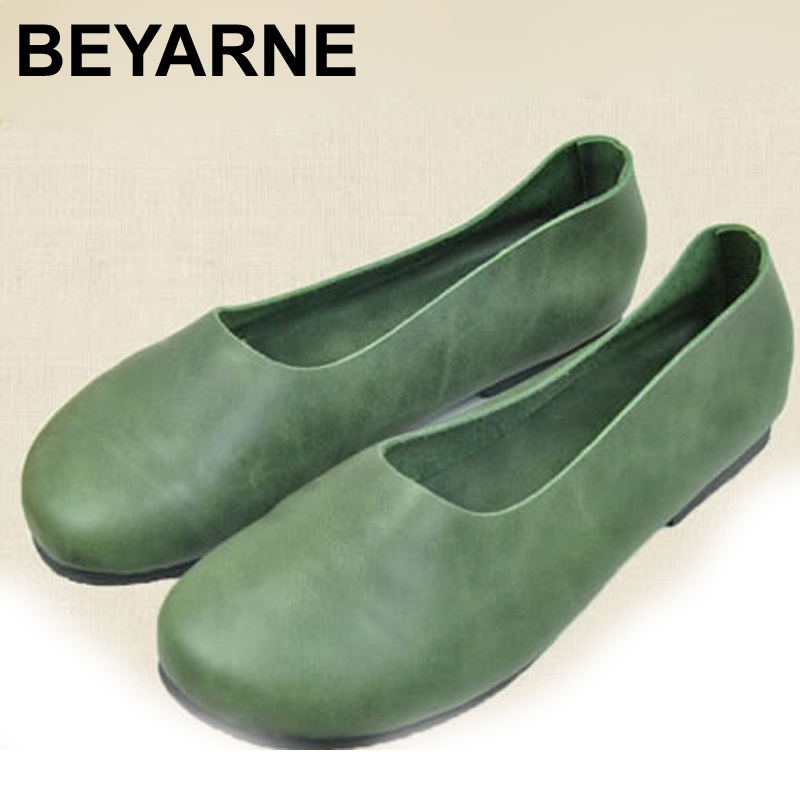 Womens Shoes Flat Genuine Leather Slip on Loafers Ladies Flat Shoes Anti Slip Soft Sole Leather