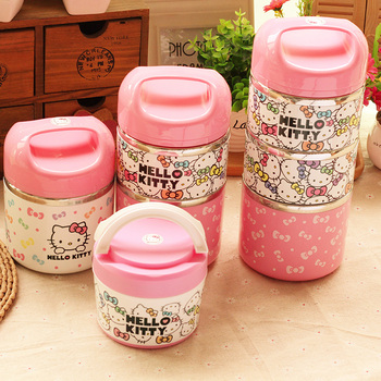 Cute Hello Kitty Stainless Steel Insulation Lunch Box Outdoor Portable 1-3 Layers Thermo Thermal Bento Box Kids Food Container birthday cake