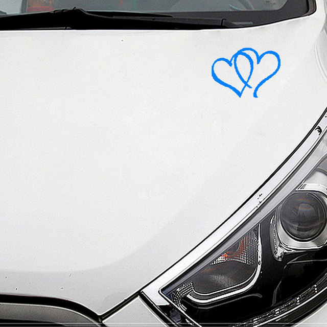 22 8cm15cm hearts double heart vinyl bumper stickers car truck window tool boxes wall