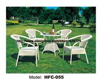 Modern White Small Gardern Table Set 80CM Rattan Round Table 4 Chairs Leisure Outdoor balcony Wicket Garden furniture Set