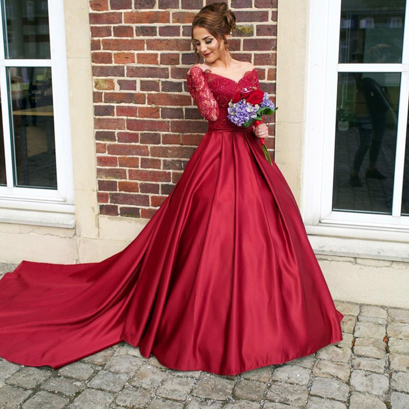 Luxurious Sexy Dark Red Long Sleeve   Prom     Dresses   Ball Gown Engagement   Dress   Satin Court Train Formal Evening Gowns 2019