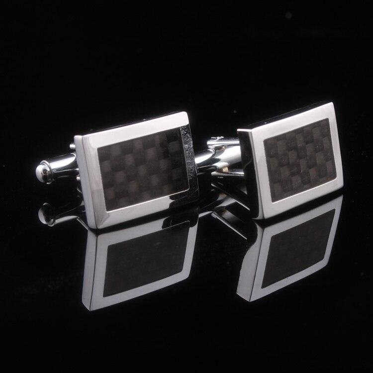 Trasporto libero di Stile Del Progettista Nero In Fibra di Carbonio gemelli per gioielli da uomo CXSF35