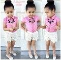Мода Малышей девушки одежда наборы 2016 новый летний 2 шт. костюм с коротким рукавом блузка + кружева шорты детская одежда для девушки