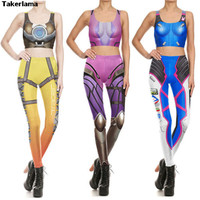 Takerlama OW DVA Tracer Widowmaker Cosplay Costume 3D Print Leggings Stretch Top Pants Cusual Summer Tight