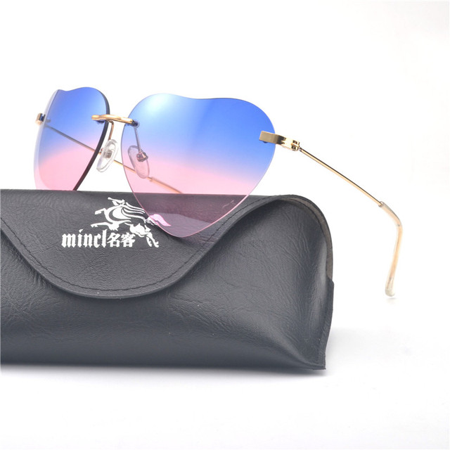 34551e9314 MINCL  Heart Shaped Sunglasses Women Love Metal Fashion clear lens Sun  Glasses Women Mirror Luxury Rimless Sun Glasses FML